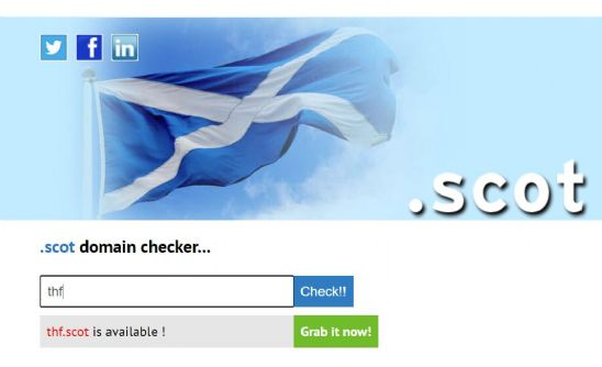 Example of a 3 letter .scot on the domain search.