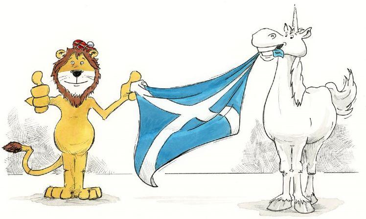 DotScot mascots holding saltire flag