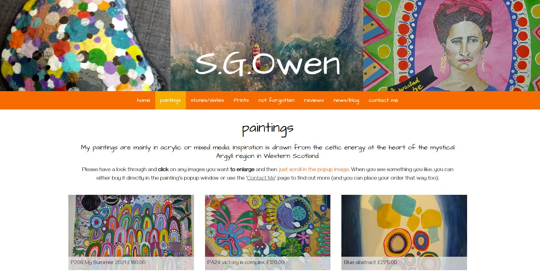 colourful screenshot of the sgowen.scot website - argyll art and paintings