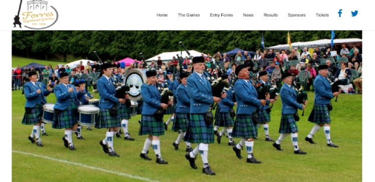 Screenshot of Forres Highland Games Website